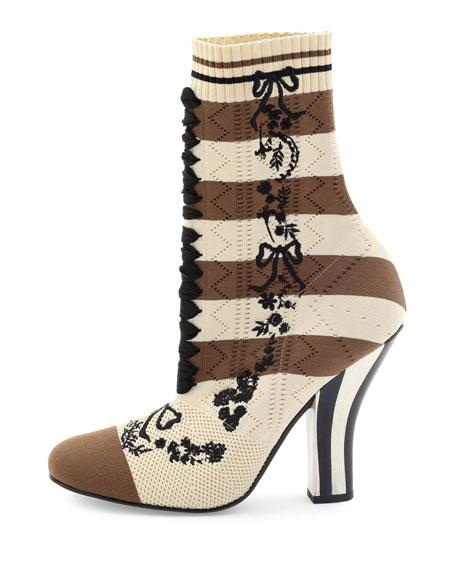 Striped Knit Sock Bootie