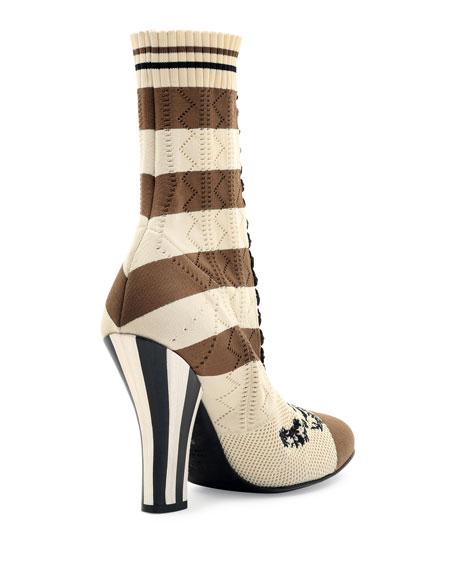 Fendi Striped Knit Sock Bootie
