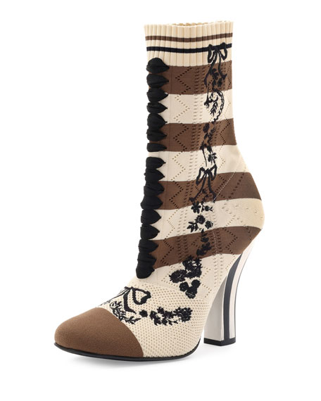 Fendi Striped Knit Sock Bootie