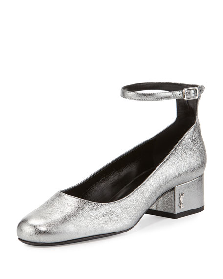 Saint Laurent Babies Metallic Ankle-Wrap 40mm Pump, Gray