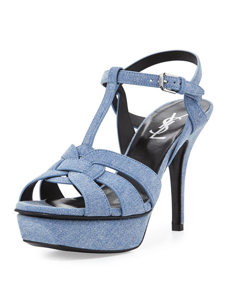 Tribute Denim 75mm Platform Sandal, Blue