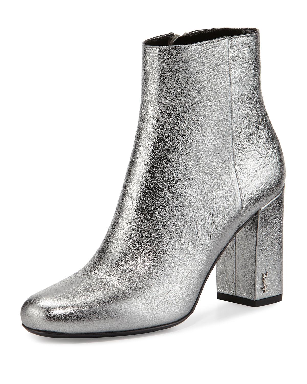 4c92a854a384 Saint Laurent Babies Metallic 90mm Ankle Boots