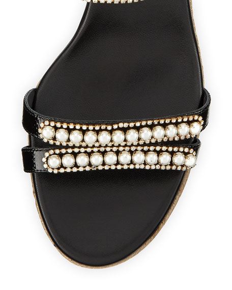 Pearly Leather Wedge Sandal, Black