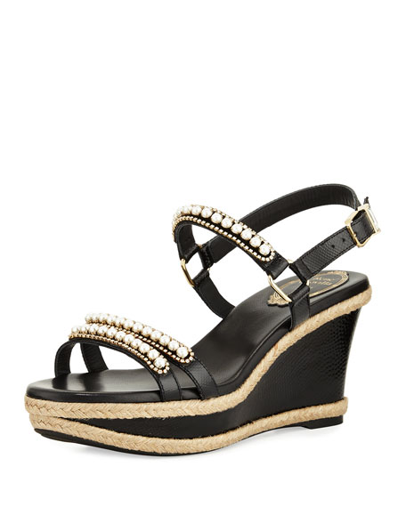 Rene Caovilla Pearly Leather Wedge Sandal, Black