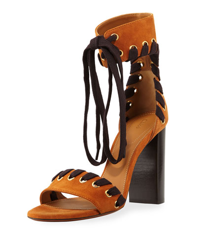 Suede Whipstitch Ankle-Tie Sandal