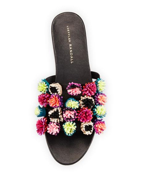 Sal Pompom Caged Slide Sandal, Black/Multi