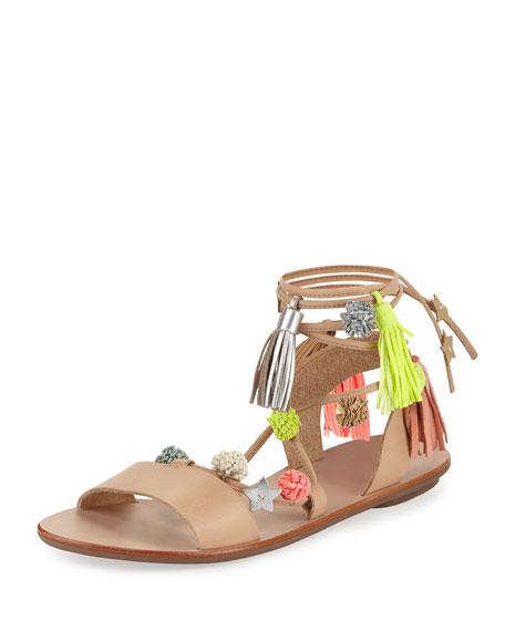 Loeffler Randall Suze Pompom Ankle-Wrap Sandal