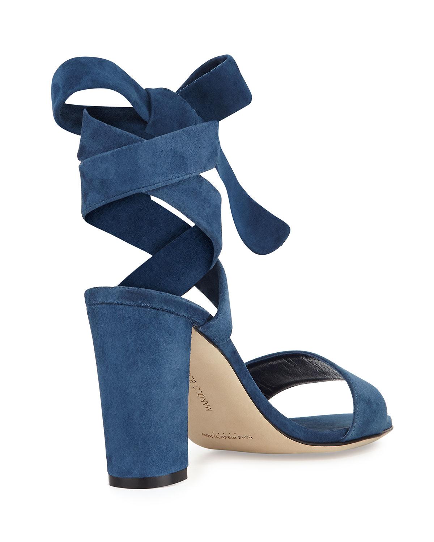 0f6e5876446b1 Manolo Blahnik Tondala Suede Ankle-Wrap Sandal, Blue | Neiman Marcus