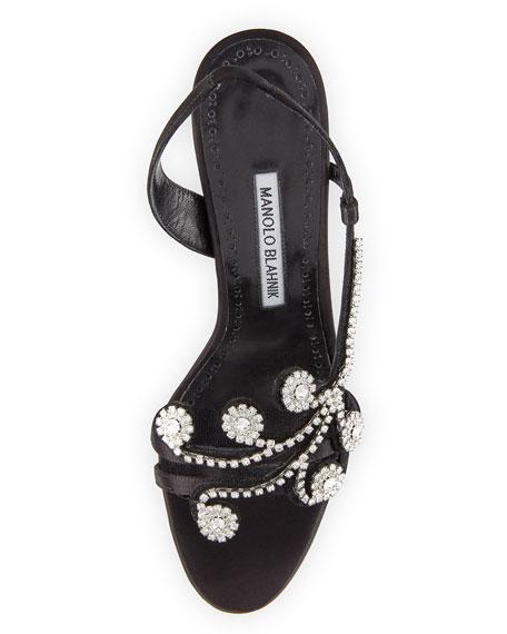 Fernusan Embellished Satin Sandal, Black