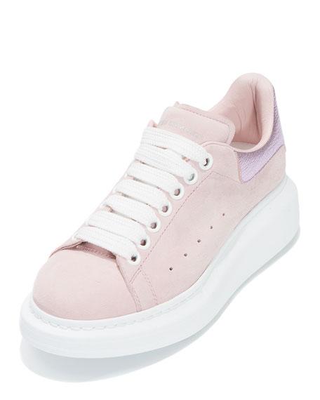 Suede Platform Low-Top Sneaker, Clover/Pale Pink