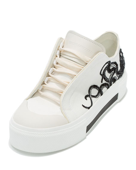 Octopus Embroidered Low-Top Sneaker, White
