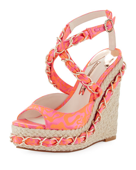 Sophia Webster Kaia Satin Wedge Espadrille Sandal, Multi