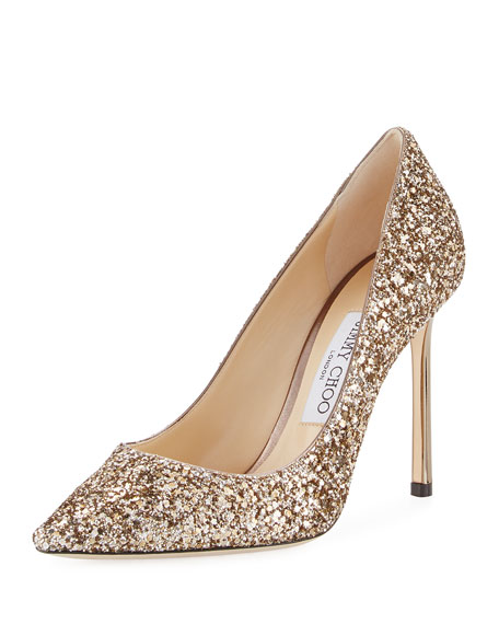 Jimmy Choo Romy Glitter Pointed-Toe 100mm Pump, Antique
