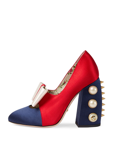 Luna Colorblock Bow 110mm Pump, Blue/Red/Ivory