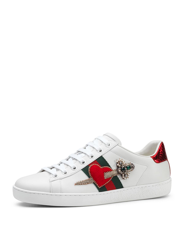 b69affbcfd8 Gucci New Ace Pierced Heart Sneaker