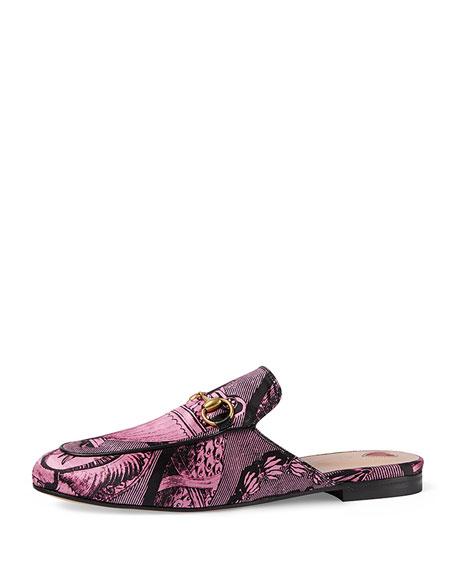 Gucci Princetown Toile Horsebit Mule, Pink/Black