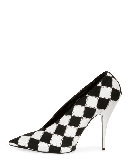 Checkered Pointed-Toe 80mm Pump, Black/White