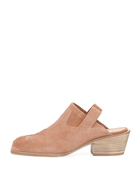 Suede Stitched Low-Heel Mule, Light Pink