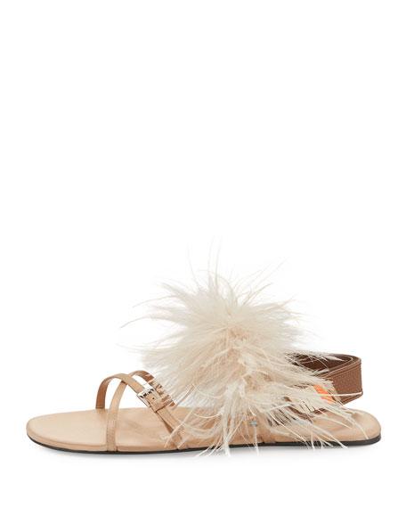 Feather-Embellished Crisscross Flat Sandal, Neutral