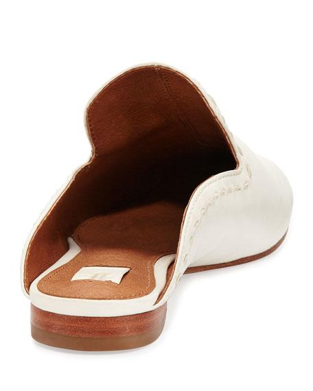 Gwen Pickstitch Flat Leather Mule