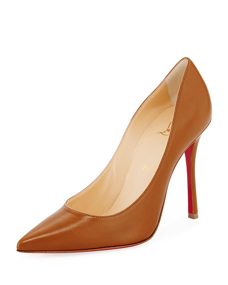 Christian Louboutin Decoltish Point-Toe Red Sole Pump, Safari
