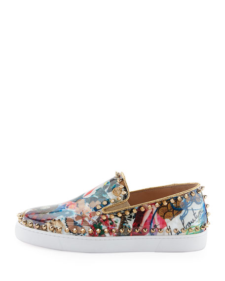Pik Boat Spiked Patent Flat Sneakers, Multi
