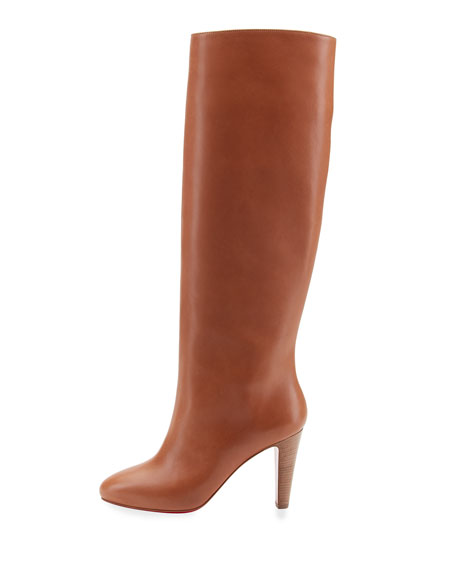 Dorififa Leather Red Sole Knee Boot, Brown