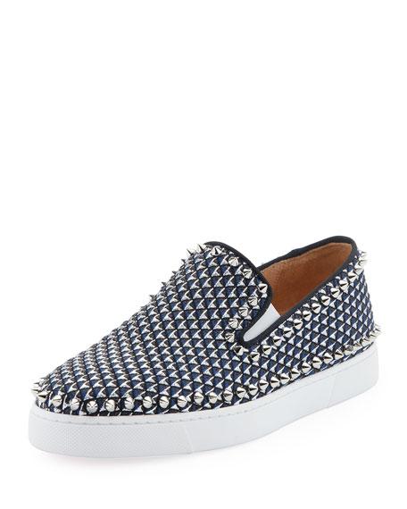 Christian Louboutin Pik Boat Spike Canvas Sneaker, Blue/Silver
