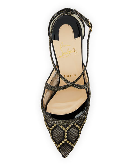 Twistissima Crisscross Red Sole Pump, Black/Gold