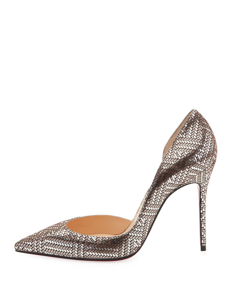 Iriza Lame 100mm Red Sole Pump, Silver