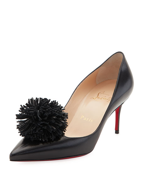 Christian Louboutin Konstantina Pompom 70mm Red Sole Pump,