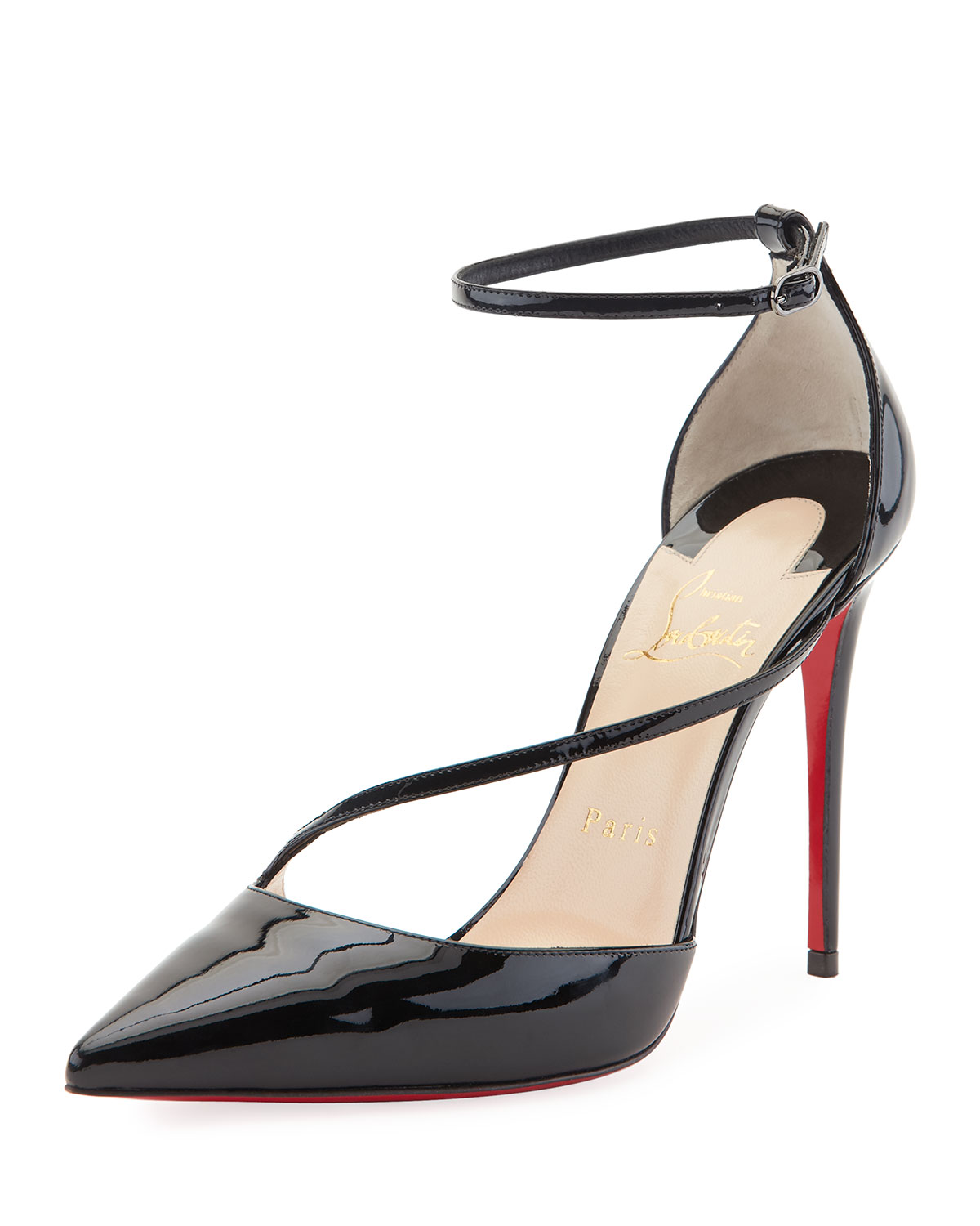 52afb822b666 Christian Louboutin Fliketta Patent 100mm Red Sole Ankle-Wrap Pump ...