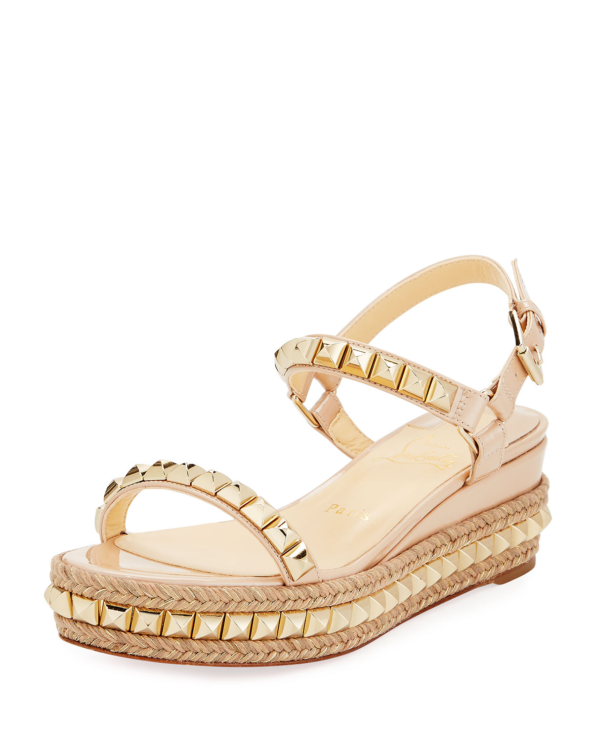 watch c7ed3 dad51 Cataclou Two-Band Red Sole Wedge Sandal, Nude