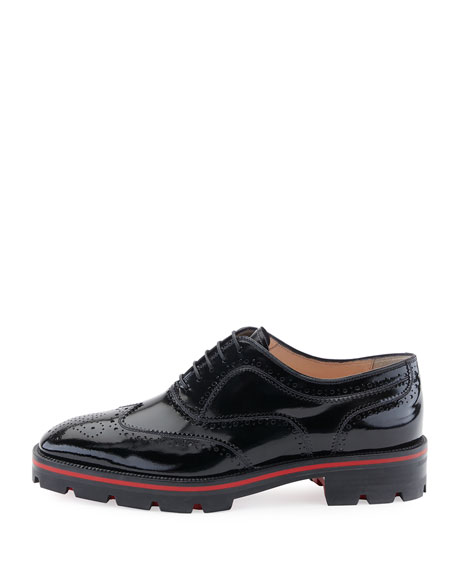 Charletta Wing-Tip Red Sole Sneaker, Black