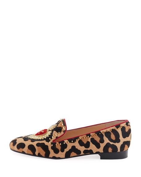 Mi Corazon Spiked Flat Red Sole Loafer, Leopard