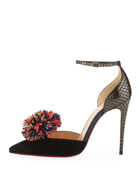 Tsarou Suede Pompom Red Sole Pump, Black