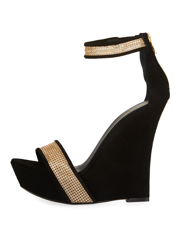 3fc294e1bd6 Samara Crystal Platform Wedge 175mm Sandals, Black