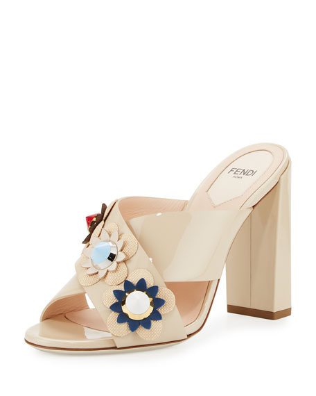 Fendi Flowerland Crisscross 110mm Sandal, Cappuccino/Natural/Multi