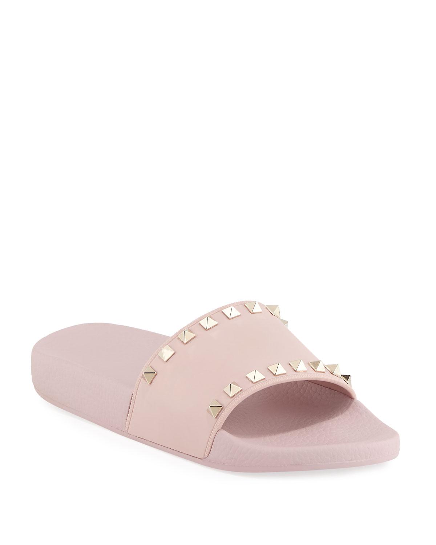 bf0eb7fb8964 Valentino Garavani Rockstud Pool Slide Sandals