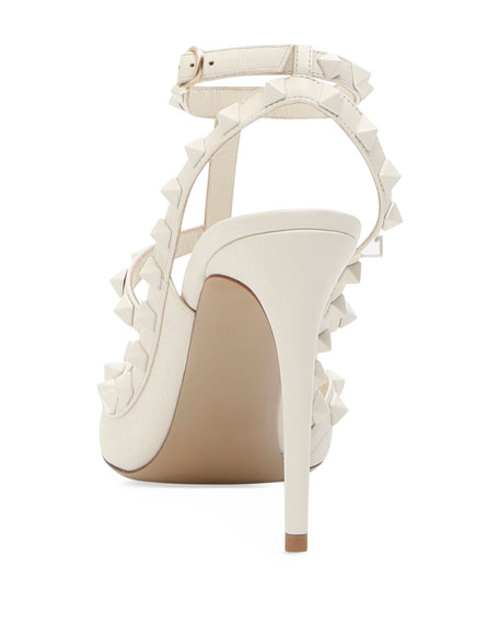 Rockstud Leather 100mm Pump, White