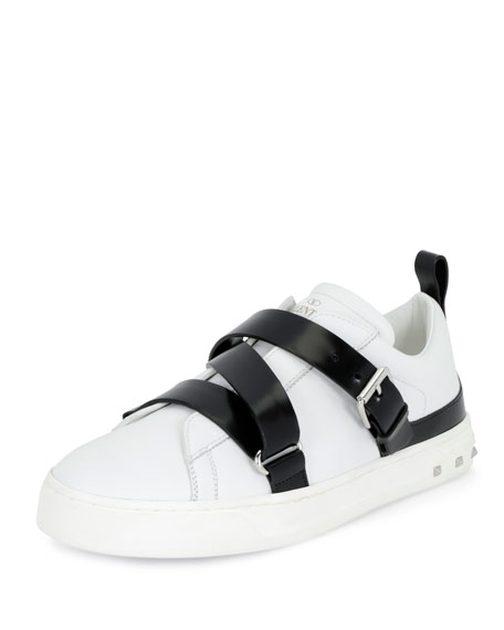 Rockstud Strappy Leather Sneaker, White/Black