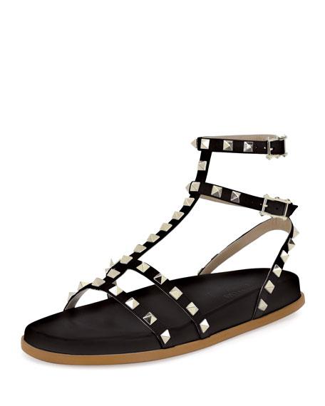 Valentino Garavani Bedrock Rockstud Flat Sandal, Black