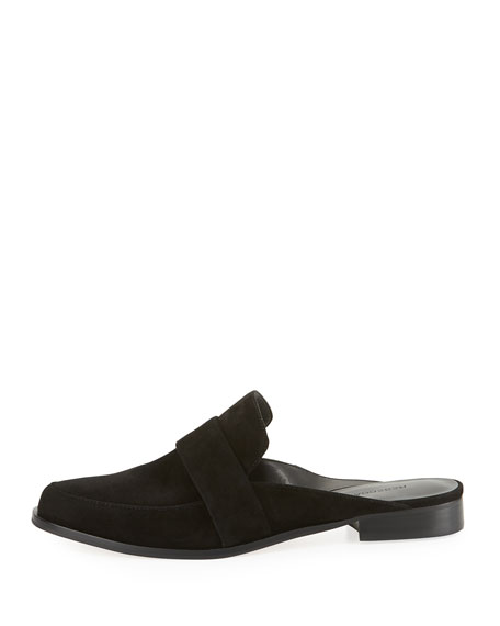 Mika Suede Flat Loafer Mule, Black