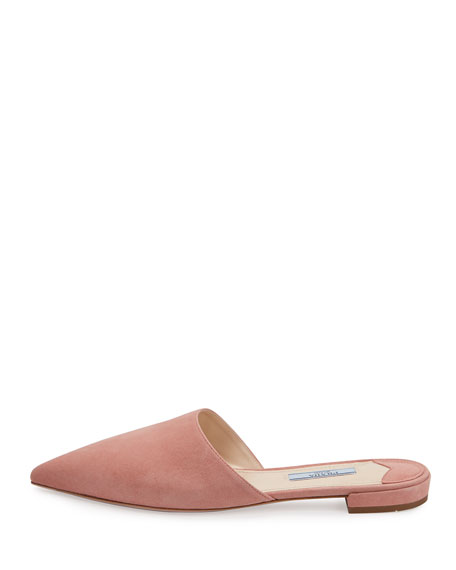 Suede Pointed-Toe Mule Flat, Rose