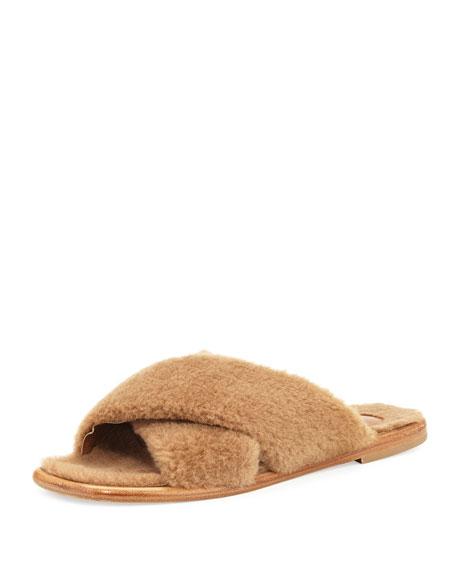 Tomas Maier Shearling Crisscross Slide Sandal, Dark Mushroom