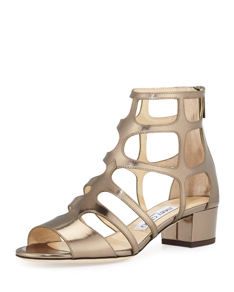Ren Mirrored Caged 35mm Sandals, Antique Military Gold