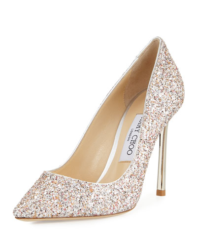 romy glitter pointed toe 100mm pump pink metallic