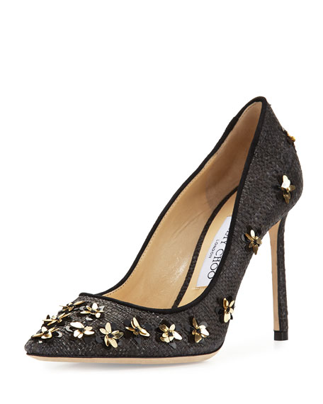 Jimmy Choo Romy Flower Raffia 100mm Pump, Black