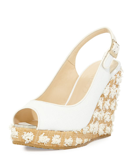 Jimmy Choo Prova Raffia Slingback Wedge Sandal, Off