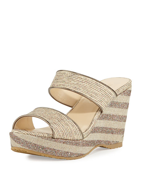 Jimmy Choo Parker Striped 100mm Wedge Sandal, Natural/Multi